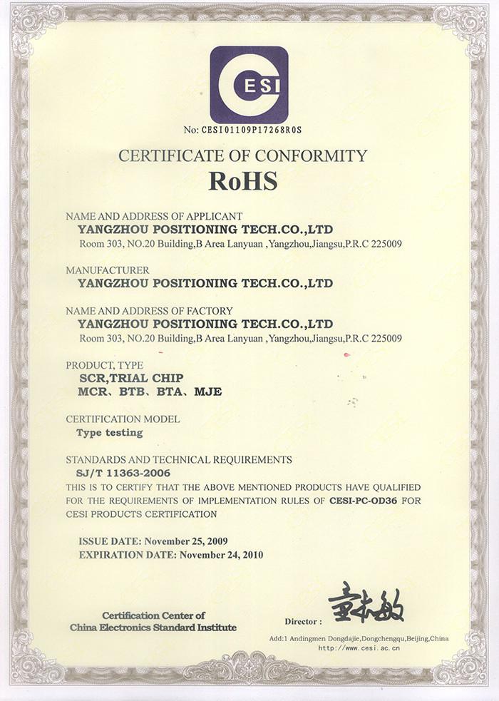 Location ROHS Certificate-2010